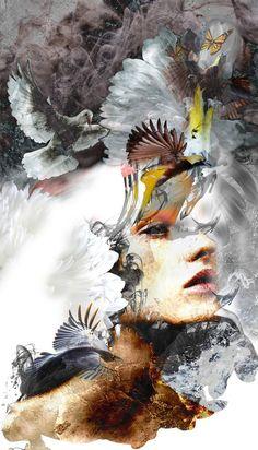 "Photography, ""Fragile / Series of portraits with birds – Limited Edition 1 of - Saatchi Art Artist Anna Sidi-Yacoub; Photography, ""Fragile / Series of portraits. Art Sketches, Art Drawings, L'art Du Portrait, Portrait Paintings, Art Paintings, Pop Art Portraits, Kreative Portraits, Art Du Croquis, Arte Obscura"