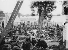Civil War Field Hospital at Savage Station after the battle there of 27 Jun Confederate States Of America, America Civil War, Us History, American History, War Image, War Photography, Civil War Photos, Interesting History, Interesting Stuff
