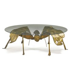 """JACQUES DUVAL-BRASSEUR Illuminated coffee table, France, 1970s Patinated brass, agate, glass Unmarked 14"""" x 40 1/2"""" dia."""