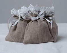 Natural gray linen bags, favor bags, children gift bags, wedding gift bags, shower favor bags, gray linen pouch, linen favor bags, set of 10
