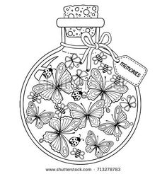 Coloring for adults.  Vector Coloring book for adults. A glass vessel with memories of summer.  A bottle with bees, butterflies and ladybugs