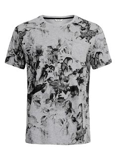ONLY AND SONS GREY/BLACK PRINTED T-SHIRT - TOPMAN