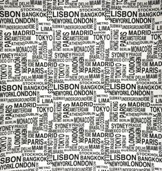 Modern Text - Love this bold black and white font use on a fabric. Would be cute for pillows.