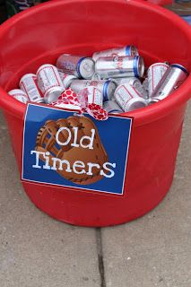 "Kids baseball party - this is for the adults!! ---kids drinks could be labeled ""Rookies"""