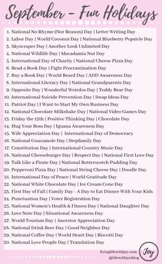 Find joy in living each day to the fullest with this list of fun national holidays and reasons to celebrate every day! Silly Holidays, Holidays And Events, Christmas Holidays, List Of Holidays, Unusual Holidays, Random Holidays, Monthly Celebration, Celebration Day, Holiday List