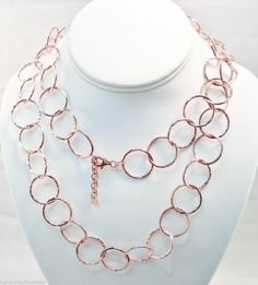 """ITALY 24k ROSE GOLD over BRONZE HIGH POLISH HAMMERED ROUND LINK NECKLACE 36.5"""""""