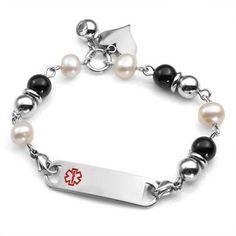 Medical ID Stainless Steel Beaded Bracelet
