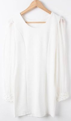 White Contrast Chiffon Long Sleeve Beading Dress