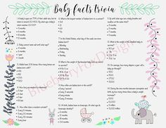 Question and Answer Baby Shower Trivia Quiz | Baby Shower ...