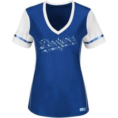 Los Angeles Dodgers Majestic Women's Curveball Babe T-Shirt - Royal