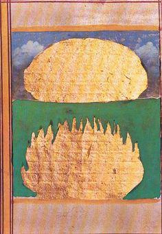 La naissance du cosmos. Provient d'une page de manuscrit enluminé. Rajasthan environ 18ème siècle. Gouache sur papier rehaussée d'or.