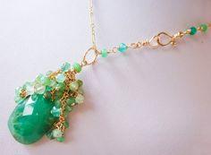 40% SALE Chrysoprase Necklace Emerald Green Statement by StudioVK