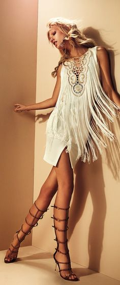 ..a bohemian Fringe, & leather roman heels..☮