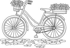 Bicycle with a two basket of flowers, vector