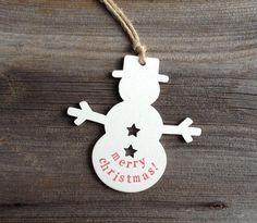 Wooden Snowman shape Merry Chritmas hanging tree decoration