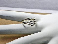 Sterling Silver Hand Wrapped Around Your Finger Finger Ring Adjustable Size 5, $89.00