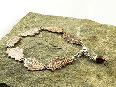 copper oak leaf bracelet with freshwater pearl acorn charm €42 by LaPetiteMaisonBijoux