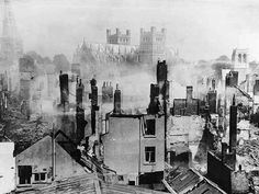 """""""Exeter was a jewel — we have destroyed it"""". The smoking ruins of Exeter the morning after the bombing raid of 3 May Previously Exeter had been one of the finest historic cities in the UK. Lord Haw Haw, Old Pictures, Old Photos, Devon And Cornwall, Devon Uk, Exeter Devon, English Architecture, Medieval Gothic, The Blitz"""