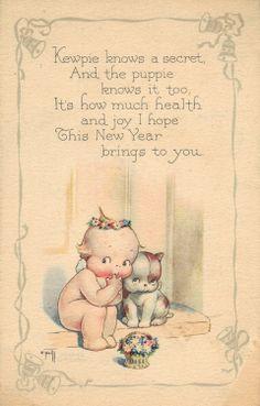 Vintage Kewpie New Year postcard. Illustration by Rose O'Neill. Images Vintage, Vintage Christmas Images, Vintage Holiday, Vintage Pictures, Cupie Dolls, Kewpie Doll, Image New, New Year Postcard, New Year Greetings