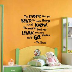 The More That You Read Dr Seuss Quote Wall Decal - Wall Decals™ - Wall Stickers For Kids, Ireland Kids Room Wall Decals, Vinyl Wall Decals, Wall Stickers, Reading Nook Closet, Reading Library, Nursery Monogram, Monogram Decal, Kids Study, Teacher Quotes