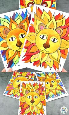 Create beautiful Sunshine Lion art with the kids this Summer; using our simple free flow technique that takes the pressure out of the process of kids learning to draw.   This art project can be completed with a completed lion template or/and our free flow how to draw  guide. Drawing Lessons For Kids, Art Drawings For Kids, Art Lessons, Food Art For Kids, Animal Crafts For Kids, Painting Activities, Art Activities For Kids, Grandparents Day Crafts, Easter Arts And Crafts