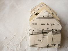 Miniature Envelopes made from Christmas music and books