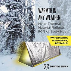 Survival Shack® Emergency Survival Shelter Tent | 2 Person Mylar Thermal Shelter…