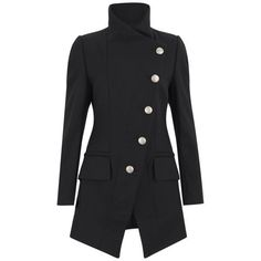 Vivienne Westwood Anglomania Women's State Coat - Black ($490) ❤ liked on Polyvore featuring outerwear, coats, jackets, coats & jackets, tops, black, military coat, asymmetrical coat, wool blend coat and military style coat