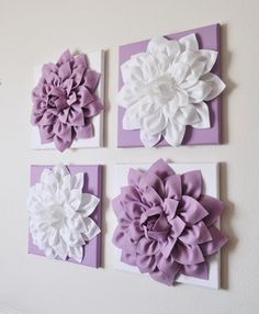 Set of Four Lilac and White 12 x12 Canvases Wall Art by bedbuggs