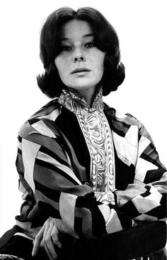 Bettina wearing a Pucci printed silk blouse. Spring/Summer Collection 1969