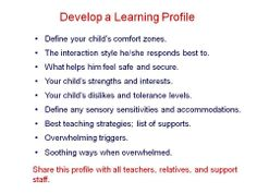 Learning Profile for students...especially those on the autism spectrum