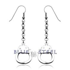 PIN IT TO WIN IT! Forever: These earrings arrest the attention of others! Hook earrings with dangling handcuffs.    Get the matching set with the Cop's Leash necklace and the handcuff bracelet.  $39.99  www.buybluesteel.com