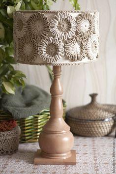 "Купить Настольная лампа ""Хлопок"" - настольная лампа, освещение, груша, хлопковая пряжа"