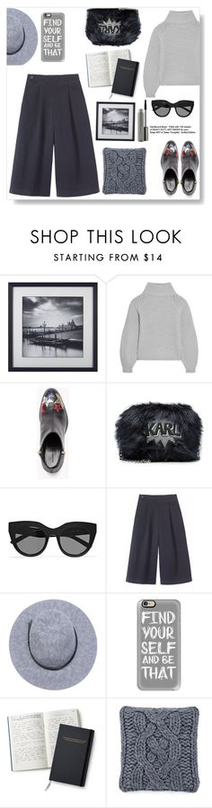"""""""Find yourself"""" by gul07 ❤ liked on Polyvore featuring Iris & Ink, Karl Lagerfeld, Le Specs, Toast, Casetify, UGG and MAC Cosmetics"""
