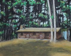Title  The Cabin   Artist  Jeanne Fischer   Medium  Painting - Oil Pastel And Colored Pencil On Paper