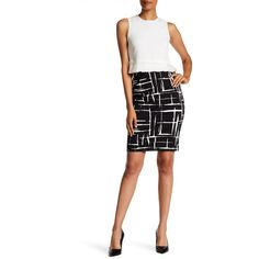 Amanda & Chelsea Pull-On Abstract Square Skirt ($37) ❤ liked on Polyvore featuring skirts, white skirt, stretch skirts, white stretch skirt, elastic waist skirt and stretchy skirts
