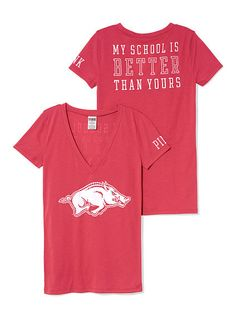University of Arkansas Mascot V-neck Tee PINK