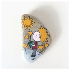 Items similar to The little prince, growing hearts, painted stone on Etsy Heart Painting, Pebble Painting, Pebble Art, Stone Painting, Painted Rocks Craft, Hand Painted Rocks, Painted Stones, Stone Crafts, Rock Crafts