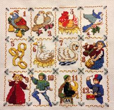 Twelve days of Christmas cross stitch