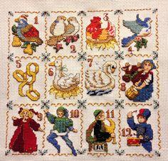 Twelve days of Christmas cross stitch