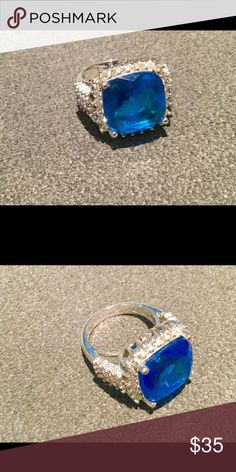 "Gorgeous Blue Stone Ring w CZ's Sz 7 Gorgeous vibrant blue 1/2"" square stone ring with tiny CZ's all around and on sides. Larger in size for dramatic look! Sz 7. Brand new Jewelry Rings"