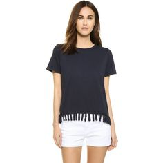 Clu Clu Too Fringe Trimmed T-Shirt (€115) ❤ liked on Polyvore featuring tops, t-shirts, navy, cotton t shirt, navy top, jersey cotton t shirts, boxy t shirt and fringe tee