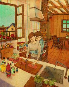 Una historia de amor   El artista coreano Puuung creó ilustraciones para ilustrar la vida de una encantadora pareja. Los caracteres, líneas y la manera de abordar las cosas pequeñas de la vida hacen de este trabajo algo muy especial y delicado.