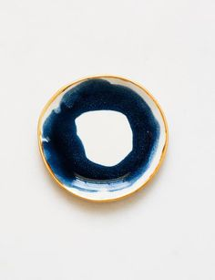 Ring Dish in Navy Swirl with Gold Rim – Suite One Studio