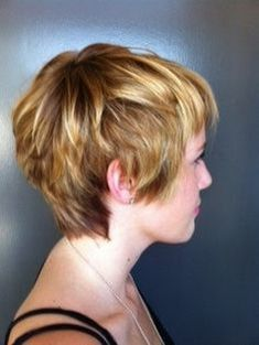 Delicate pixie cut with soft blonde colouring This is a really cute look as this woman's short layered hair has been brushed over at the front of the face. Description from pinterest.com. I searched for this on bing.com/images