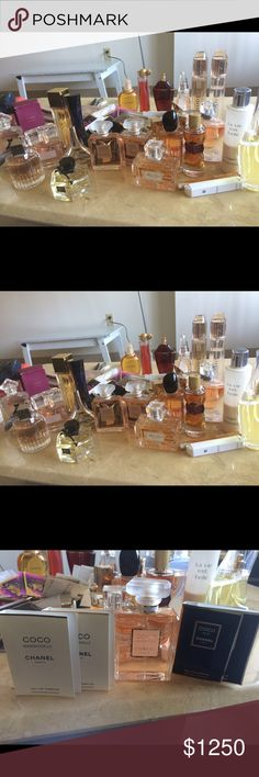 Perfumes si 3.3oz ,chanel coco mademoisella 3.4oz , miss Dior 3.4oz ,Lancome la vie bell 3.4oz and the larg body lotion, Michel kors amber,Barbary body intense& bodyoil,jimmy choo,Gucci flora ,givenchy(DahliaDivin,organza,Angelou demon secret,amarige,ChloeDina KarinEDP, Euphora,Zara red vanilla  ,guerlain samsara ,vyes saint laurent,guerlain la petite robe noir,with and mostly with out the box and, almost 20 perfume sample and 4body  lotion 2 travel size Lancome la vie set bell and Versace…