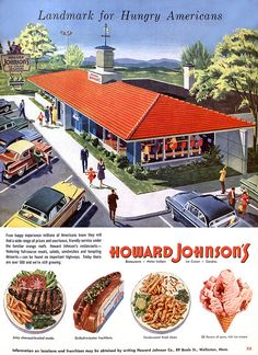 1955 ... hungry Americans by x-ray delta one, via Flickr  This is the way I remember Howard Johnson's, in Anderson SC, looking in the 70's. :)