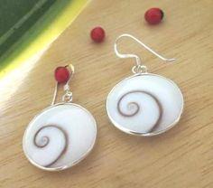 925 Sterling Silver Round 8mm Cream White Spiral Shiva Eye Shell Stud Earrings