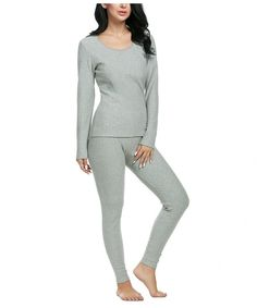 f837753f Women's Thermal Underwear Set Top & Bottom Smooth Knit Winter Base Layering  Set - Gray - CB18800WO4G