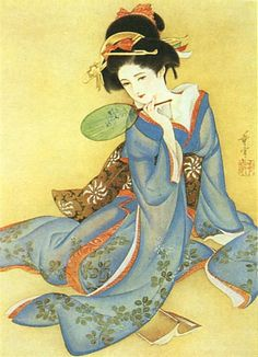 Japan antique art. illustrator / Kasyou Takabatake.   kimono beauty lady. last years of the taisyou period / early Showa period. geisya.